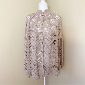 Handmade Poncho Button Front - One Size